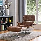 New Pacific Direct 633045P-D1-AL Grayson Lounge Chair Furniture, Distressed Caramel/Aluminium