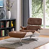 New Pacific Direct Grayson Aviator PU Leather Lounge Chair and Ottoman,Aluminum Legs,Distressed Caramel