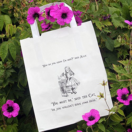Alice in Wonderland Party Bags White with Handles x 10 Wedding / Mad Hatters]()