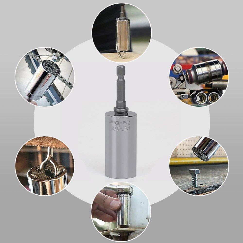 Universalschlüssel Adapter,Standard 1/4 in - 3 / 4in,Metrisch 7- 19mm Multifunktions-Universal-Handwerkzeuge Steckschlüssel Adapter Repair Tools Universalnuss Selbsteinstellende Kombination