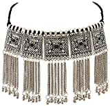 Sansar India Boho Oxidized Square Tassels Choker Necklace for Women