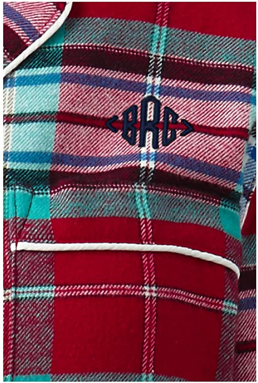 Lands End Womens Long Sleeve Flannel Sleep Top Pale China Blue Herringbone Plus 3X