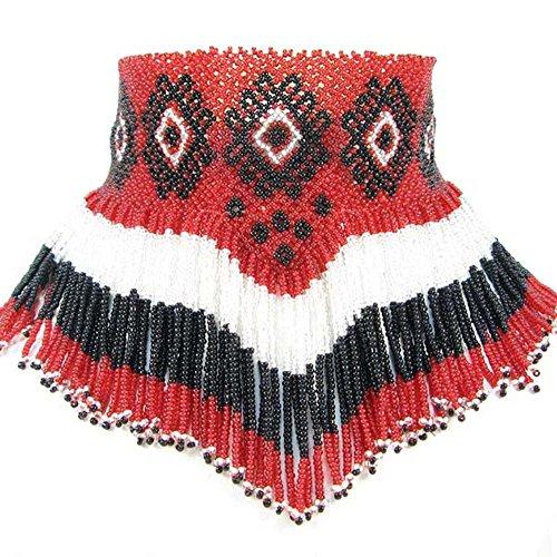 (Viva Handmade RED Black Ruby Clear White Color Seed Beaded Earrings Necklace Beadwork 19/5)