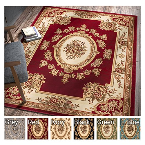 (Pastoral Medallion Red French Area Rug European Floral Formal Traditional Area Rug 7' x 9' Easy Clean Stain Fade Resistant Shed Free Modern Classic Contemporary Thick Soft Plush Living Dining Room Rug )