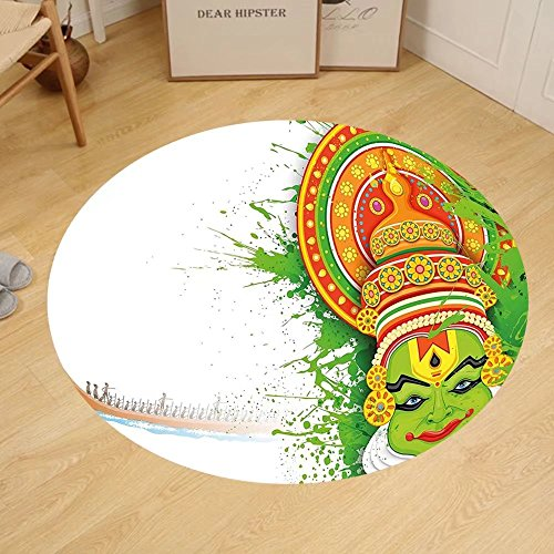 Gzhihine Custom round floor mat Asian Ritualistic Indian Asian Ceremonial Dance Figure and Boat on River Bedroom Living Room Dorm Green and White by Gzhihine