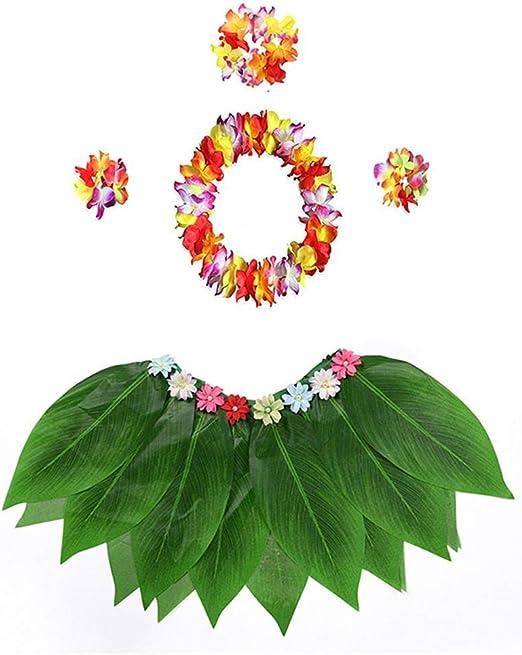 Falda de Hula de Hojas Hawaianas para Festivales de Danza Falda de ...