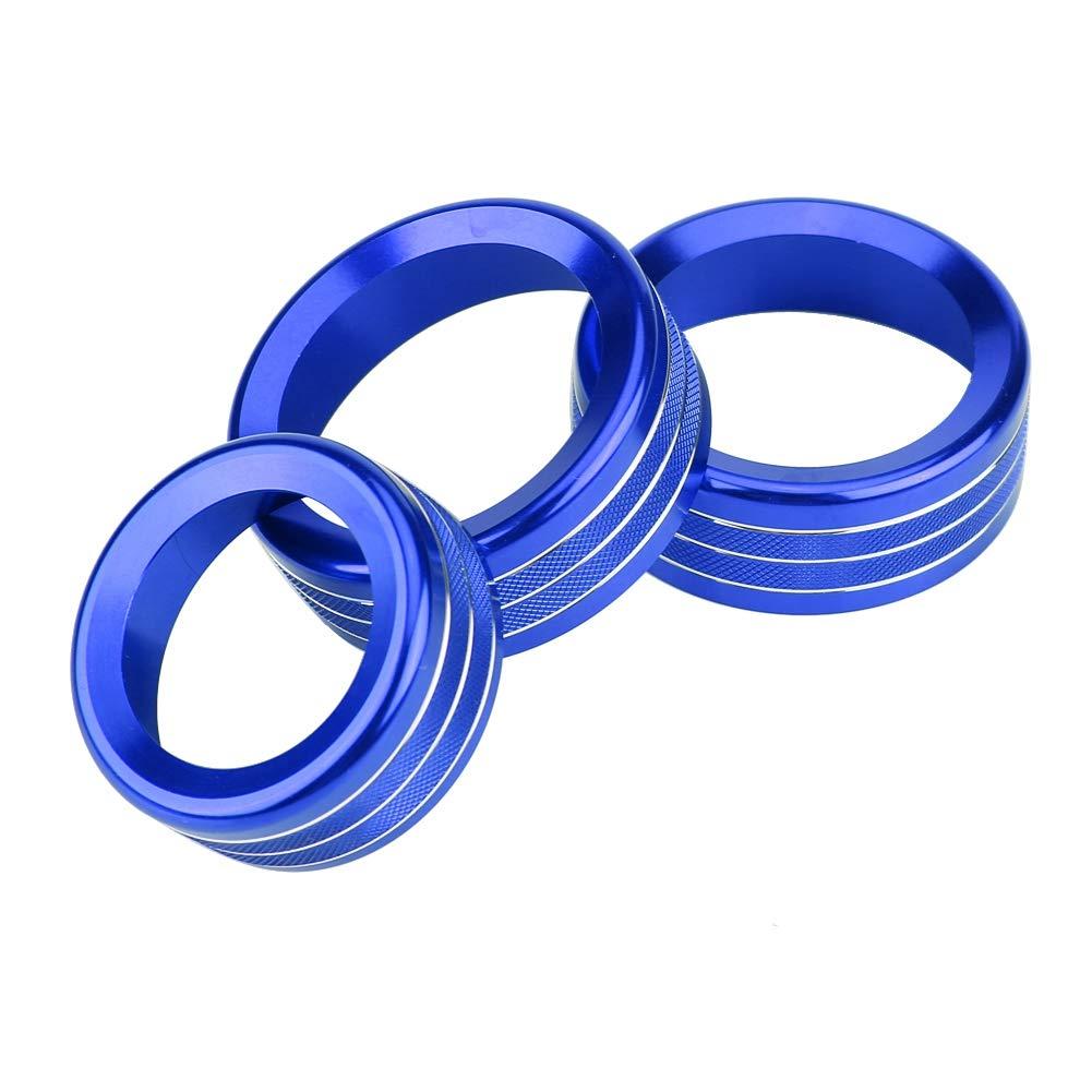 perilla borde cubierta de c/írculo R aire acondicionado KIMISS 3 piezas de aleaci/ón de zinc para autom/óvil