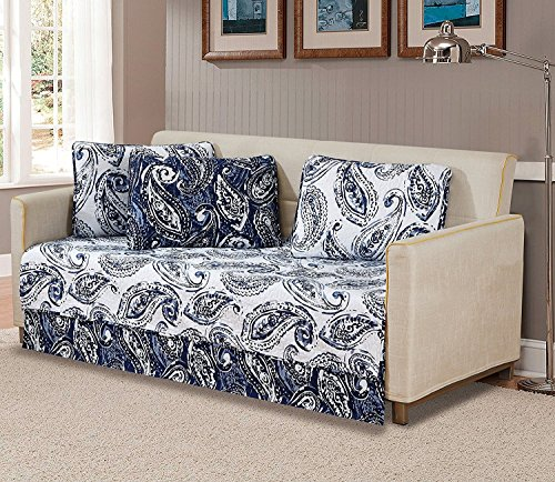 Fancy Collection 5 Pc Daybed Quilted Bedspread Floral Print Paisley Flower Navy Blue White Reversible New