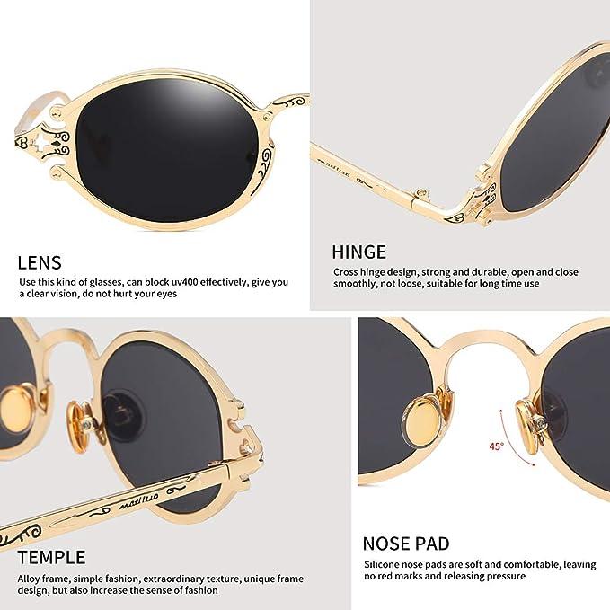 13e7296333 Amazon.com  Vintage Steampunk Round Sunglasses Men Circle Retro Mirror Sun  Glasses Women Crave Luxury Oval Steam Punk Style UV400  Clothing