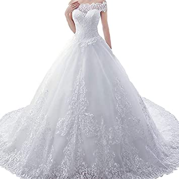 Jxth Clowd Robe De Mariee Pour Femme Trailing Wedding