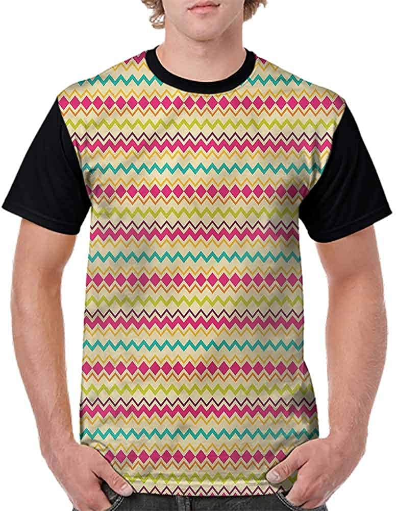 BlountDecor Round Neck T-Shirt,Sixties Funky Strokes Fashion Personality Customization