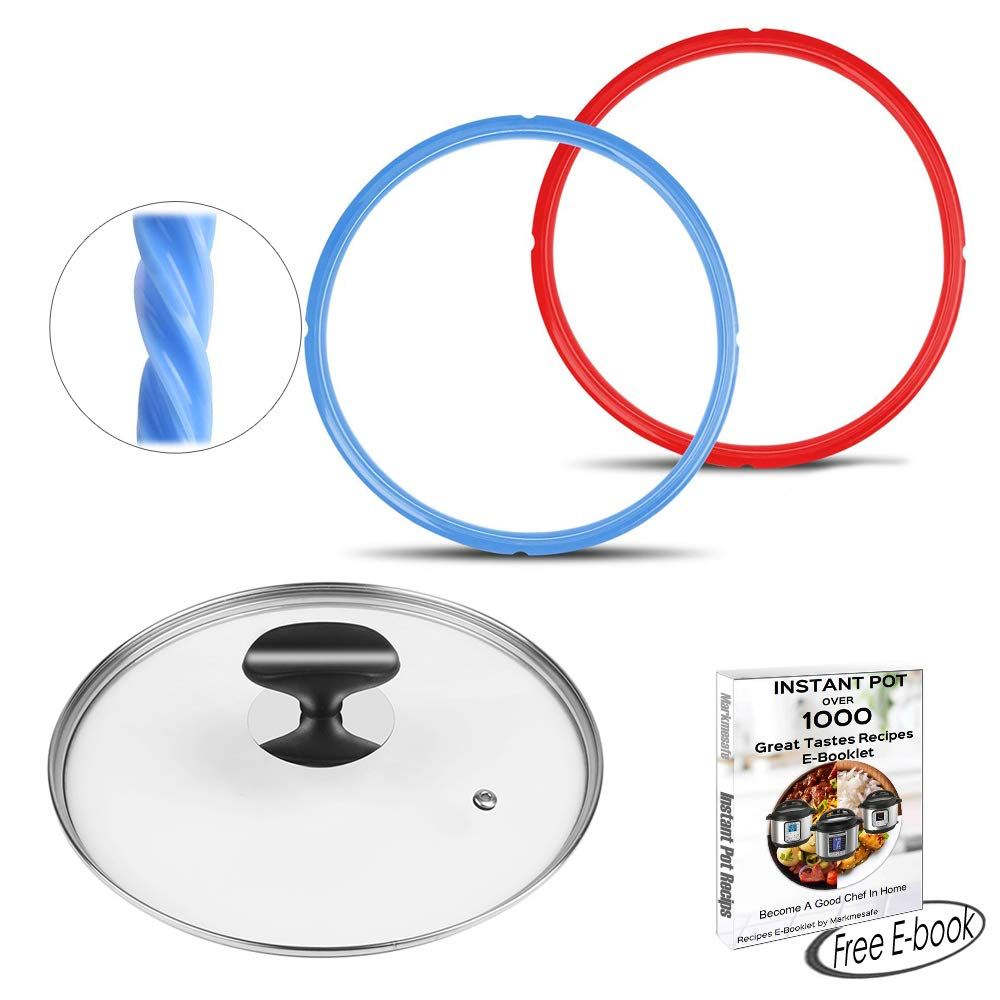 3 IN 1 SET Silicone Sealing Rings for Instant Pot 5 or 6 Quart (Sweet & Savory Edition), 9 inch (23cm) Clear Ideal Designed Tempered Glass Lid, Free Over 1000 Recipes E-Book,Instant Pot Accessories Markmesafe