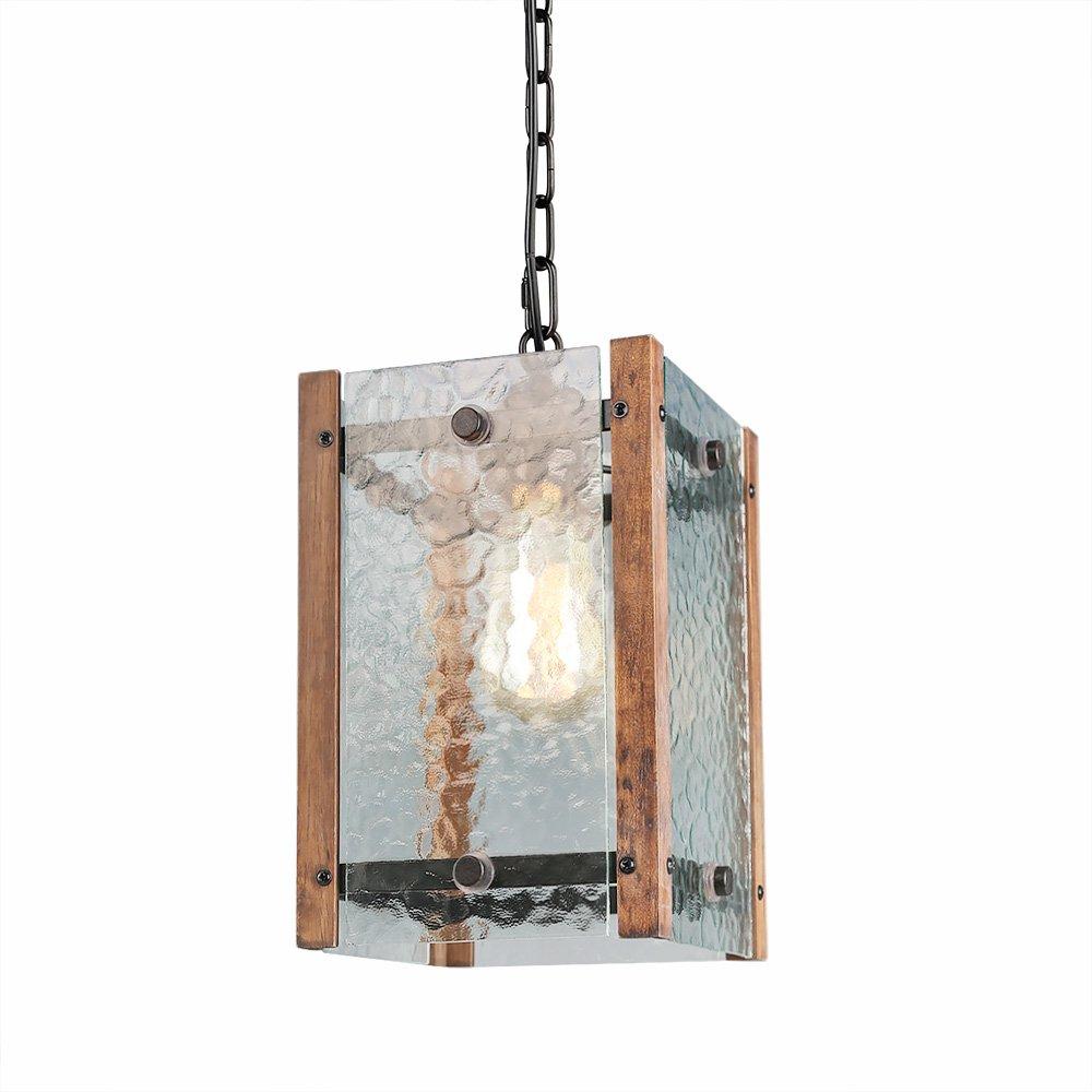 LALUZ Water Glass Wood Pendant Lighting Entryway Pendant Lights Foyer Hanging Lantern