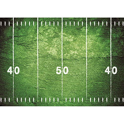 Green Football Field Backdrop for Photography 7x5 Polyester Baby Shower Background for Boy Happy Birthday Backdrops for Kids Locker and Cheerleader Girl Portrait Picture Photo Shoot with Pocekt