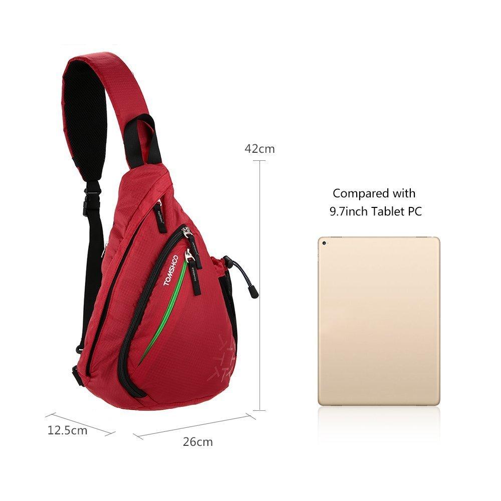 TOMSHOO Bolsa de Hombro Pecho Crossbody de Tela de Oxford y Poliéster Ideal para Hombres y Mujers en Deportes (Rojo)