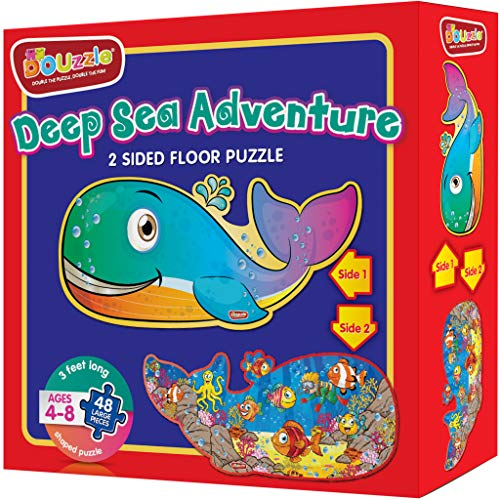 Deep Sea Adventure (Whale Fish + Underwater Ocean) 2 Sided Floor Puzzle for Kids Ages 4-8 (48 Large Pieces, 3 Feet Long, Extra Thick Cardboard, Fish Shaped). Birthday Gift for Boys and Girls.