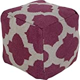 Surya POUF157-181818 100-Percent Wool Pouf, 18-Inch by 18-Inch by 18-Inch, Eggplant/Gray
