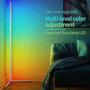 PPWYY RGB Remote Control Discoloration Floor Light Corner Nordic Decoration Home Floor Lamps for Living Room Night Light Dimming Standing Lamp Bedroom Decor