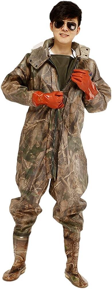 Xinwcang Herren Weatherguard Regen-Anzug Camouflage Wathose Angelanzug Teichhose Hochwasserhose mit Profilsohle