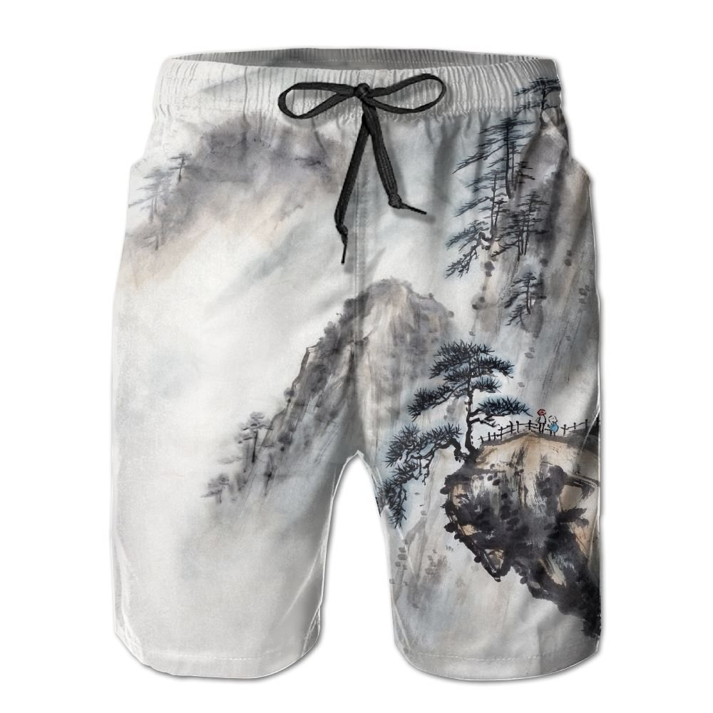 SmallHan Men Chinese Landscape Painting White Running Swimming Trunks Adjustable Beach Shorts With Pockets