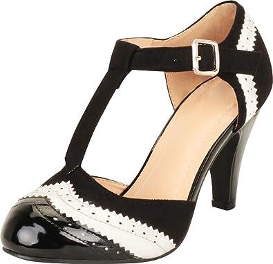 a4d1cdadf0 Cambridge Select Women's T-Strap Wingtip Style Cut Out Mid Heel Dress Pump ,5.5