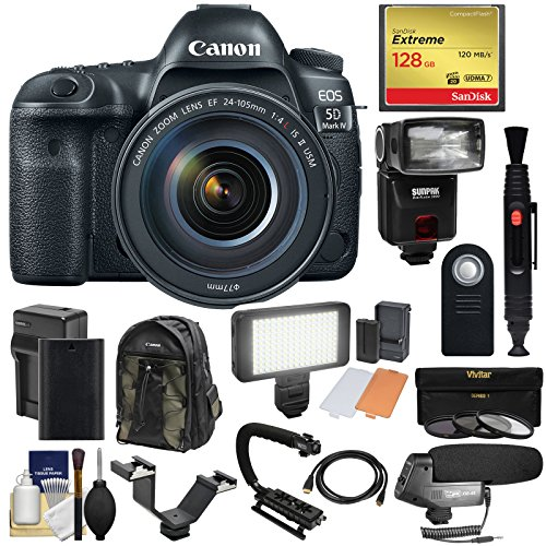 (Canon EOS 5D Mark IV 4K Wi-Fi Digital SLR Camera & EF 24-105mm f/4L IS II USM Lens with 128GB Card + Battery & Charger + Backpack + Flash + LED Light + Microphone + Kit)
