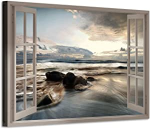 Fake Window Canvas Wall Art: Open Window View Rocky Beach with Distant Sunset Prints Artwork for Office (36'' x 24'' x 1 Panel)