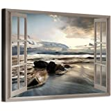 Fake Window Canvas Wall Art: Open Window View Rocky Beach with Distant Sunset Prints Artwork for Office (36'' x 24'' x 1…