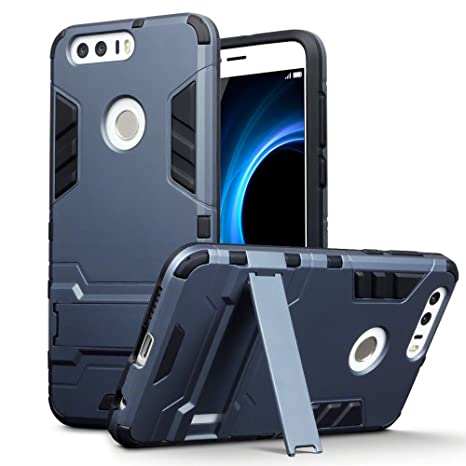 on sale adbee f8b8c TERRAPIN, Compatible with Huawei Honor 8 Case, Full Body Shock Resistant  Armour Cover with Kickstand - Dark Blue