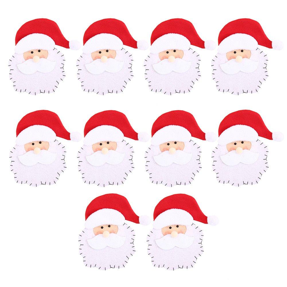 LAEMILIA 10pcs Kitchen Cutlery Holders Suit Christmas Party Decoration Knifes Forks Bag Socks Santa Claus Pattern (10pcs, A)