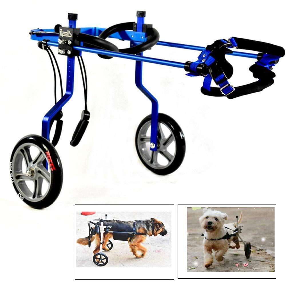 CHUDAN Dog Harness Dog Wheelchair Wheelchair, Leg disability for pets rehabilitation, Adjustable 2 wheels   4 wheels dog wheelchair Handicapped dog pet practice for small dogs, 3-6kg,bluee,XS
