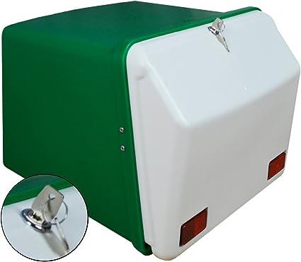 Portaequipajes Moto baúl Reparto Verde-Blanco con Reflectantes homologados, Cierre Cerradura: Amazon.es: Coche y moto