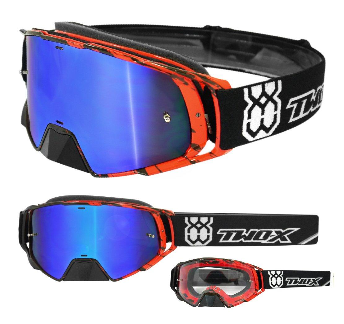 TWO-X Rocket Crossbrille Crush schwarz Weiss Glas verspiegelt blau MX Brille Nasenschutz Motocross Enduro Spiegelglas Motorradbrille Anti Scratch MX Schutzbrille Nose Guard TX0017B0770