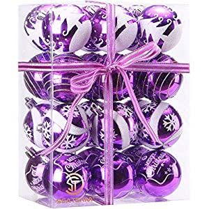 Sea Team 60mm/2.36″ Delicate Painting & Glittering Shatterproof Christmas Ball Ornaments Decorative Hanging Christmas Ornaments Baubles Set for Xmas Tree – 24 Counts (Purple)
