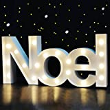 "BRIGHT ZEAL 8.5"" TALL Large LED ""NOEL"" Marquee Sign Letters (WHITE, 6hr TIMER) - Christian Home Decor Light Up Letters for Wall Decor - Church Decorations for Wedding Decor - Nativity Scene Outdoor"