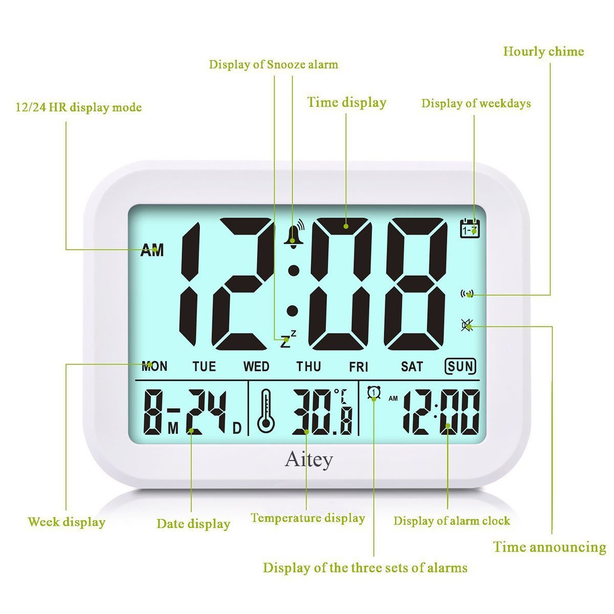 Digital Alarm Clock, Aitey Talking Clock with 3 alarms, Optional Weekday Alarm, Intelligent Noctilucent & Snooze Function, Month Date & Temperature Display for Adults, Kids & Teens (Green) by Aitey (Image #3)