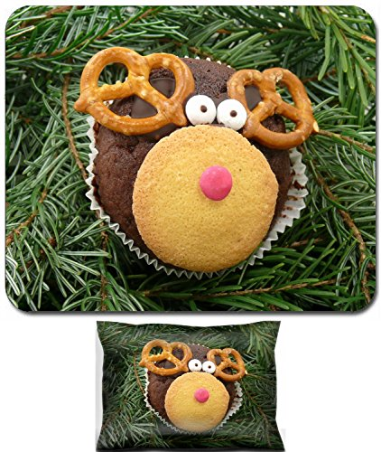 Luxlady Mouse Wrist Rest and Small Mousepad Set, 2pc Wrist Support design IMAGE: 34324435 Christmas reindeer rudolph cookie (Rudolph Cookie)