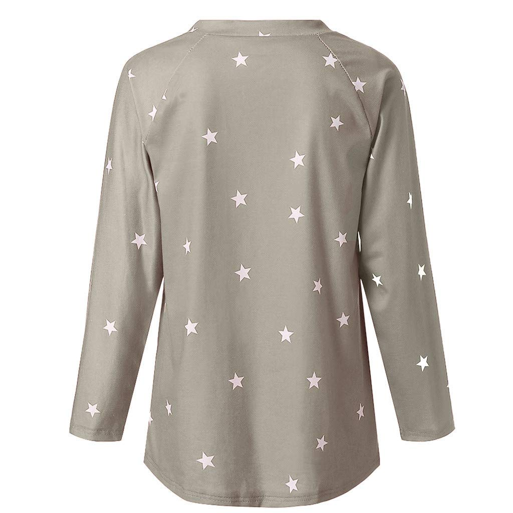 PASATO Women Long Sleeve Tee One shoulder Cotton Star Pattern Sweat T-Shirt Casual Blouses Tops (Gray,XXXXXL=US:XXXXL) by PASATO Blouse For Women (Image #4)