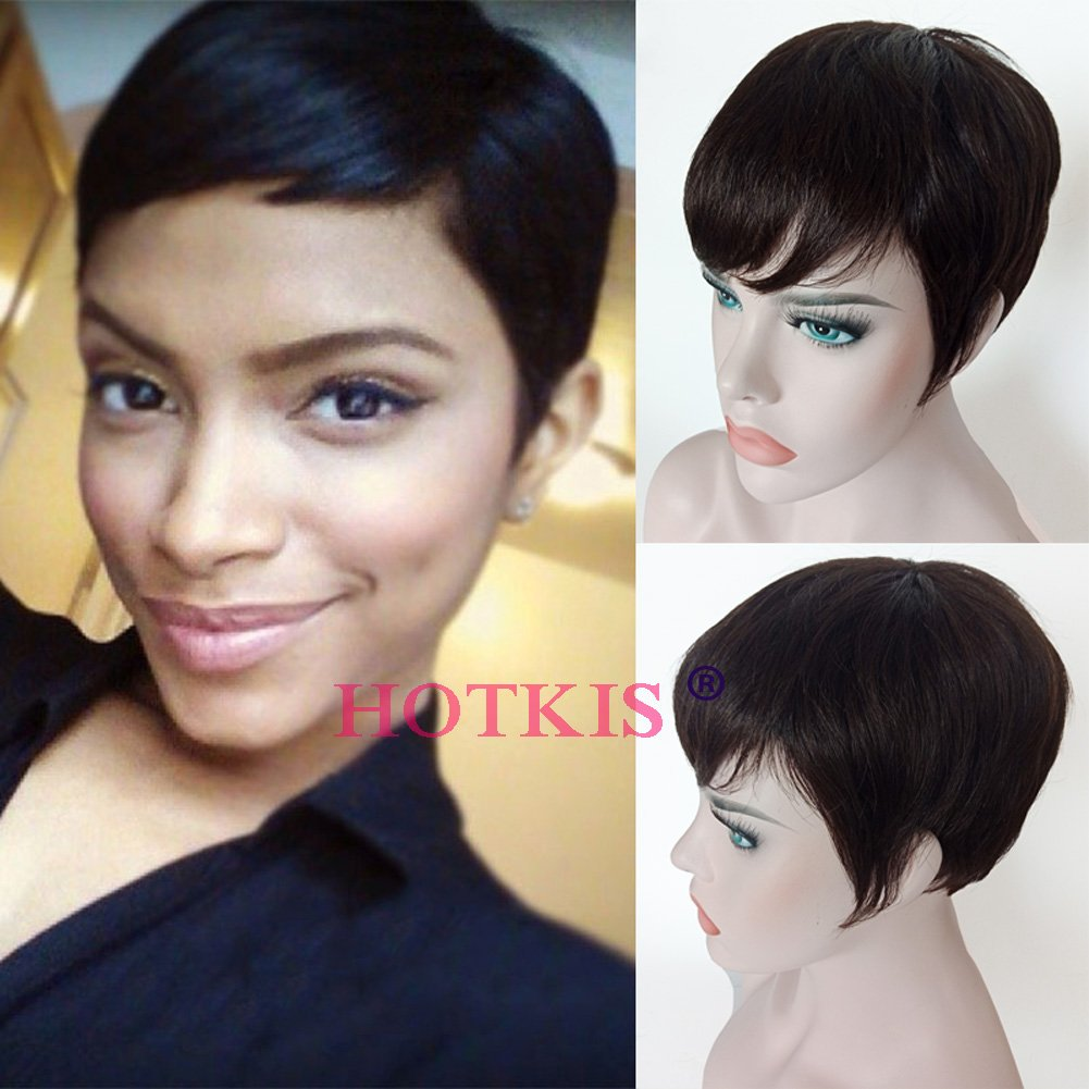 HOTKIS Human Hair Short Cut Wigs Very Short