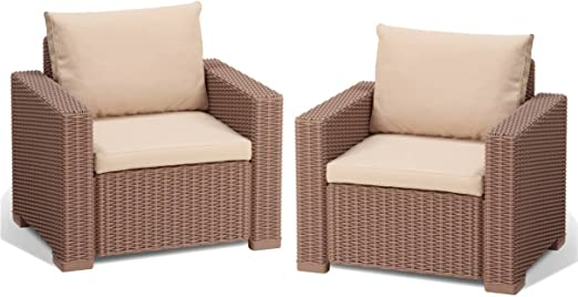 Allibert M285008 - Conjunto Ratan Resina California Lounge Set Cappuccino: Amazon.es: Jardín