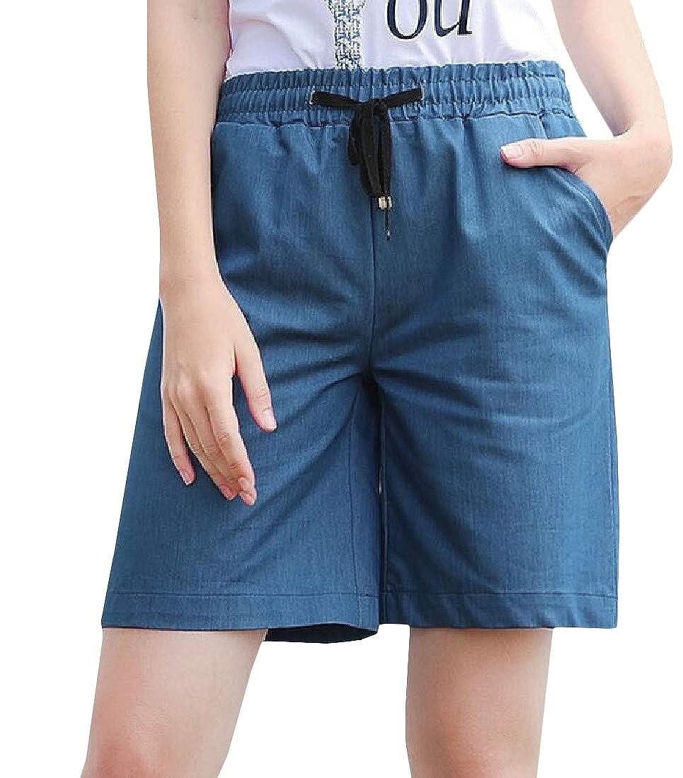 Sweatwater Women Elastic Waist Wide Leg Summer Straight Casual Bermuda Shorts