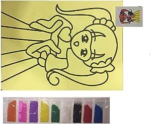 لعبة تعليم الرسم بالرمل الملون و الورق اللاصق للاطفال-فتاة تحمل قلب