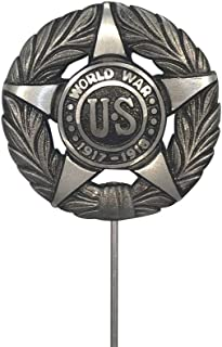 product image for World War I Aluminum with Black Highlights Grave Marker, Cemetery Memorial Flag Holder, WWI Veteran Plaque, Made in USA