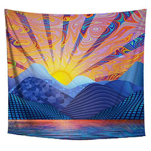 Lucid Eye Studios Psychedelic Sunrise Tapestry- Premium Trippy Art Wall Tapestry- Blue Sky Wall Hanging- Sun Tapestry- Colorful Dorm Decor (58 x 51 -