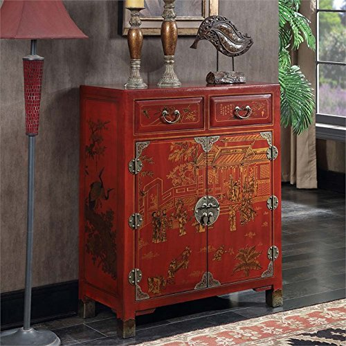 Convenience Concepts Touch of Asia 2-Drawer Hall Console with Shelves, Red (Coffee Hand Painted Console)