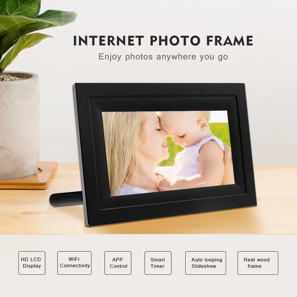 iPhone /& Android App and Real Wood Frame Black(IPF07B) Hdgenius 7 Inch WIFI Digital Photo Frame with HD Touch Display