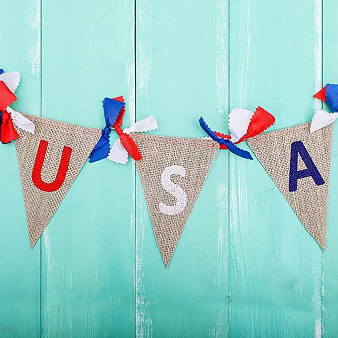 iBOXO String Flags Independence Day Burlap Flag Banner Banner Hand Painted Decoration for Party