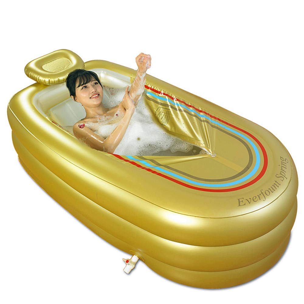 Inflatable Bathtub Adult, Thicken Folding Bathtub, Large Home Spa Plastic Insulation Bathtub with Cushion