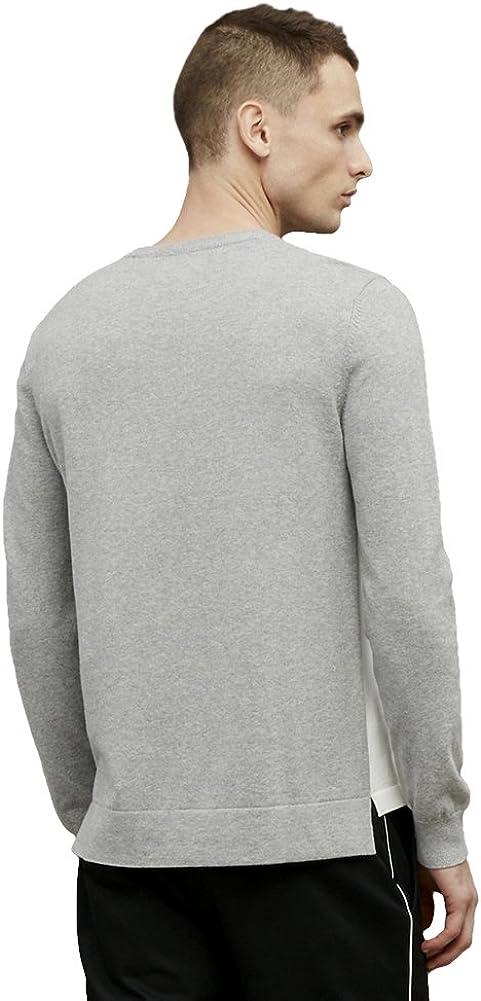 Kenneth Cole Black Label Colorblock Stripe Sweater Grey//White Cotton//Cashmere