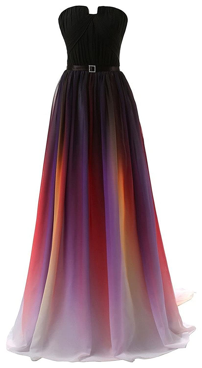 Diansheng Womens Gradient colorful Chiffon Long Formal Evening Prom Dresses colorful us12 at Amazon Womens Clothing store: